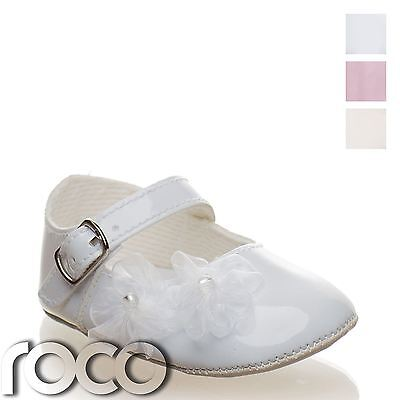 Baby Girls Christening Shoes, Baby Girls Buckled Soft Sole Shoe, Lace Flowers