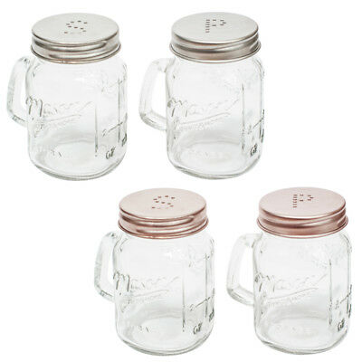 Vintage Retro Salt & Pepper Glass Mason Jar Shakers Shabby-Chic Pots Tableware