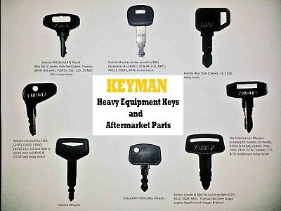 Kubota Heavy Equipment / Construction Ignition Key Set (8 Keys)