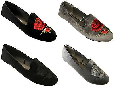 Shoes 18 Womens Rose Embroidered Smoking Ballet Micro Suede Flats…