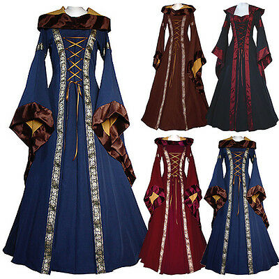 Medieval Dress Women's Vintage Victorian Renaissance Gothic Dress Costume Hooded