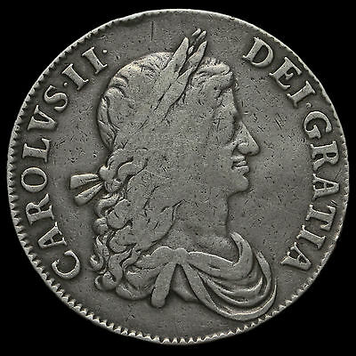 1662 Charles II Early Milled Silver Crown, No Rose, Scarce