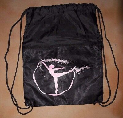 NWOT  Drawstring Lightweight  Backpack Black Dance Bag Pink Dancer
