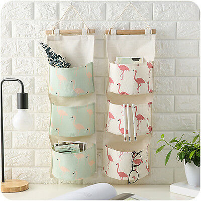 Flamingo Pattern Cotton Linen Cloth Art Wall Door Home Storage Hanging Bag Case