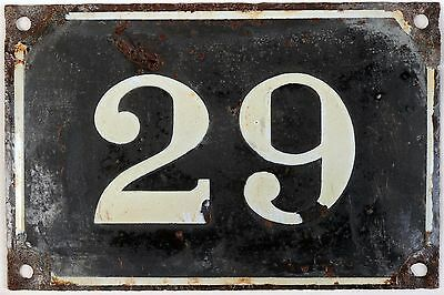 Large old black French house number 29 door gate plate plaque enamel metal sign