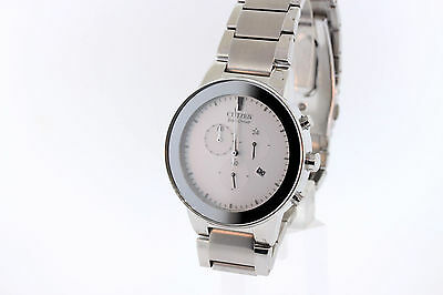Men's Citizen AT2240-51A Eco-Drive Axiom Stainless Silver Chronograph Dial Watch