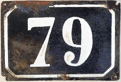Large old black French house number 79 door gate plate plaque enamel metal sign
