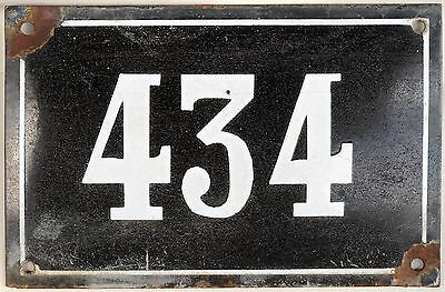 Large old black French house number 55 door gate plate plaque enamel metal sign