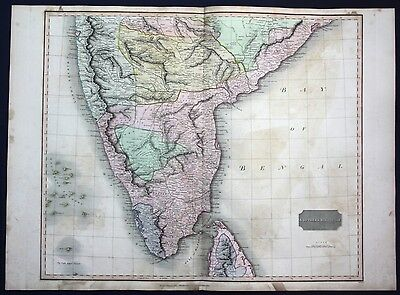 1816 Southern Hindoostan South India Indien map Karte Thomson Kupferstich