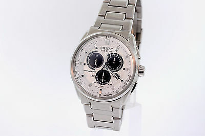 Men's Citizen BL5480-53A Eco-Drive Stainless Steel Chronograph White Dial Watch