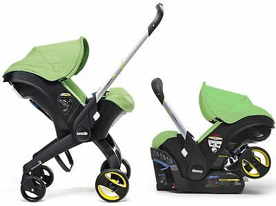 Doona Infant Baby Car Seat Travel Stroller with Latch Base Green FREE BAG NEW