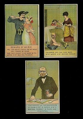 Professor, Policeman & Kids All Love Cake-Lot 3 Victorian Trade Cards-SALE