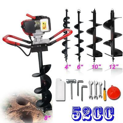 """56CC Gas Power 2.3HP Engine One Man Post Hole Digger 4"""" 6"""" 8"""" 10"""" 12"""" Auger Bits"""