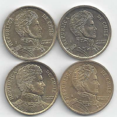 4 DIFFERENT 10 PESO COINS from CHILE DATING 2009, 2010, 2011 & 2012