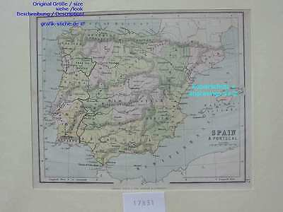 17831-Spanien-Spain-España-Portugal-KARTE-MAP-L-1887