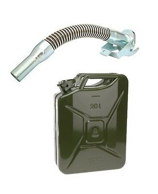 METAL FUEL JERRY CAN DIESEL PETROL OIL 20 LITRE GREEN MILITARY Flexible Spout