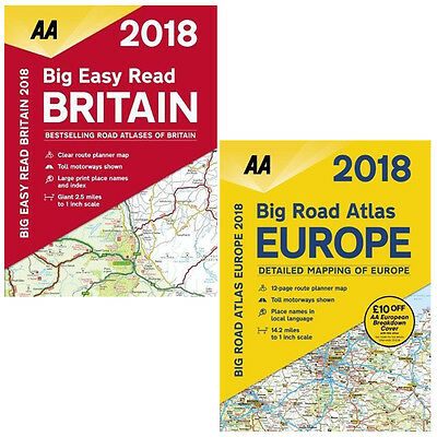 AA Big Easy Read Britain 2018 and AA Big Road Atlas Europe 2018 2 Books Set NEW