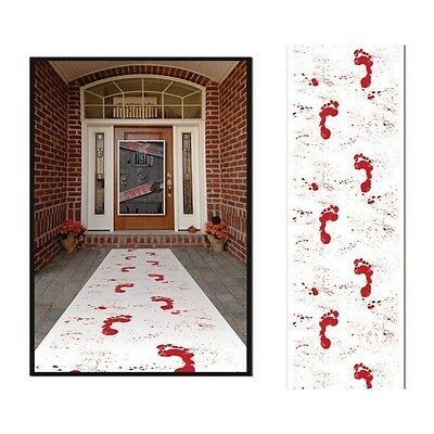 15ft HALLOWEEN FAKE WHITE CARPET BLOODY FOOTPRINTS BLOODSTAINED PARTY DECORATION