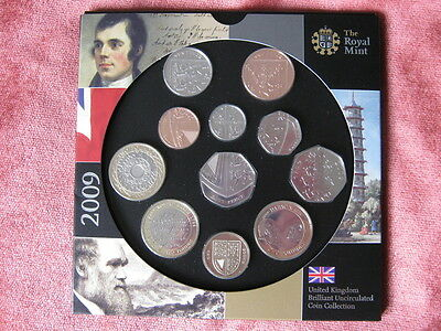 2009 Royal Mint  B UNC coin colection year set inc KEW GARDENS 50p