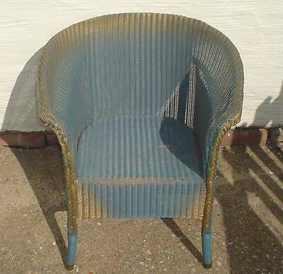 Vintage Mid Century Blue & Gold Lloyd Loom Chair Dated 1937