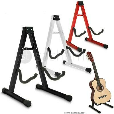 Folding Metal Guitar Stand Music Electric Acoustic Free Standing A Frame Stand
