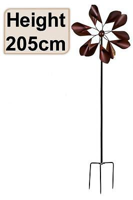 e2e Spinning Large Dark Metal Lily Garden Wind Spinner Windmill Ornament