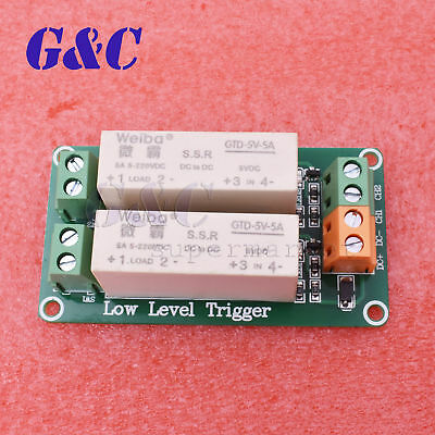 2 Channel SSR Solid State Relay low Trigger 5A 0-2V DC-DC Arduino Uno  new