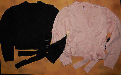 NWT Dance Ballet Bloch Knit Cross Over Sweater Pink or Black Girls Sizes CZ0999