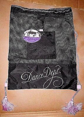 NWT Capezio B14 Dance Dept. Mesh Drawstring Black Backpack Dance Bag Ballet