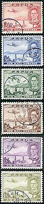 Papua SG163/68 1939 KGVI Air Set of Six Very Fine Used