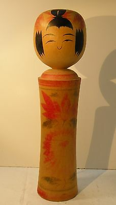 "TMbx LARGE JAPANESE KOKESHI DOLL, 12"" high, wood, vintage"
