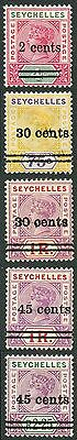 Seychelles SG41/45 1902 QV Set of 5 with opt (Type 5) M/M