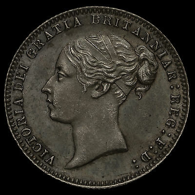 1877 Queen Victoria Young Head Silver Sixpence, Scarce, Uncirculated