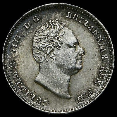 1836 William IV Milled Silver Fourpence / Groat, A/UNC