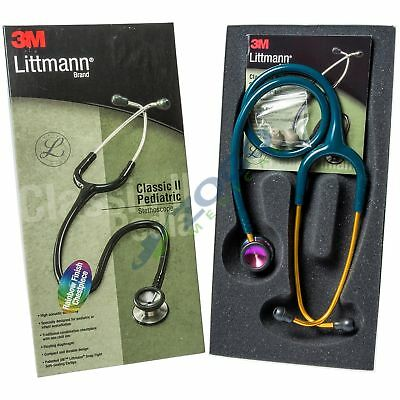 "Littmann Classic II Pediatric Stethoscope 28"" Rainbow Chestpiece Caribean Blue"
