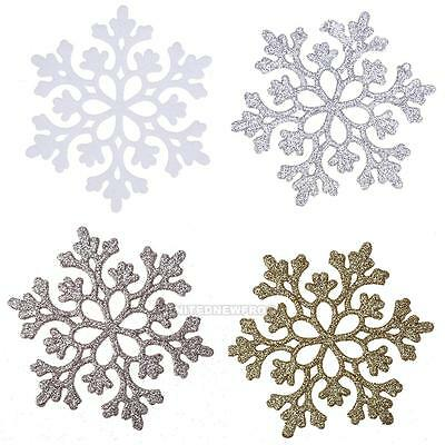 24Pcs Snowflakes Christmas Hanging Decor Home Party Glitter Snow Flake Ornaments