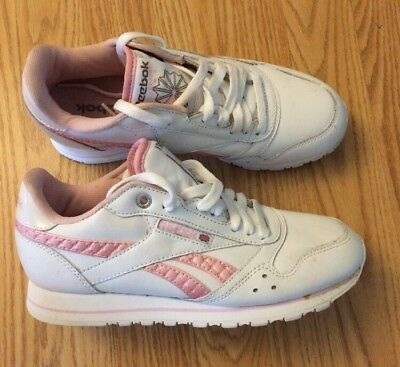 fd676485d741c Vintage Reebok Womens Size 7 Princess White Pink Shoes Sneakers Classic  Leather