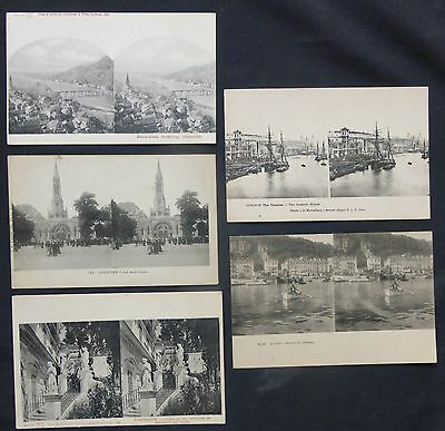 Lot (5) Stereo Postcards, Foreign Views, Germany, France, England, c1900