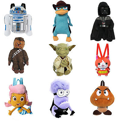 Cartoon Plush Backpack Kids Bag Toy Bag with Zipper Pouch - Multiple Styles