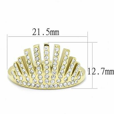 Round Clear CZ Set in Gold IP Stainless Steel Crown Designer Band