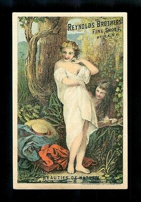 Beauties of Nature-Ladies Disrobe At Swimming Hole-1880s Victorian Trade Card