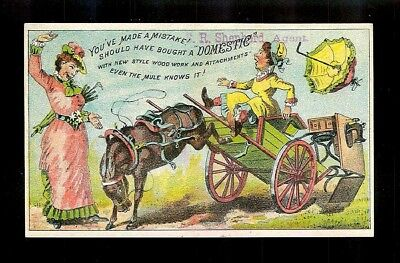 Cart Mule Throws A Tantrum! Colorful Victorian Trade Card