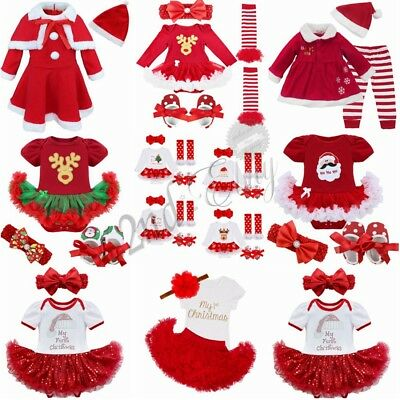 My First Christmas Infant Baby Girl Santa Romper Tutu Dress Headband Outfit Set