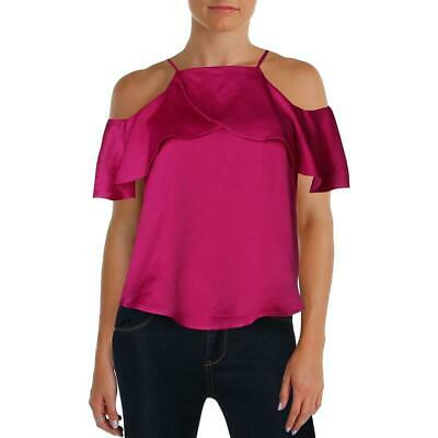 Design Lab Womens Cold Shoulder Satin Ruffled Casual Top BHFO 8484