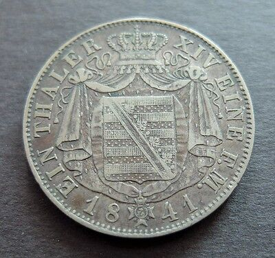 1841G Silver German Saxony 1 Thaler Coin, Circulated Condition, Lot#465