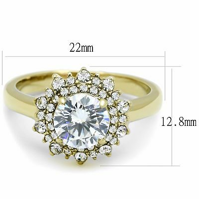 7x7mm Round Cut CZ Flower Stackable Gold IP Stainless Steel Womens Cocktail Ring