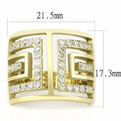 Clear CZ Gold IP Stainless Steel Wide Band Womens Cocktail Ring