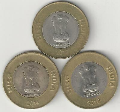 3 BI-METAL 10 RUPEE COINS from INDIA - 2012, 2014 & 2016 (ALL MINT MARK of N)