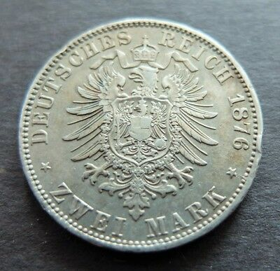 1876A Silver Germany Prussia 2 Mark Coin, Circulated Condition, Lot #481