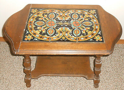 Vintage 1930's California Pottery 6-Tile Top Table